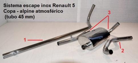 SISTEMA ESCAPE ACERO INOX RENAULT 5 COPA ALPINE ATMOSFERICO - copia